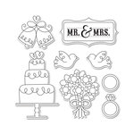 Sizzix - Doodlebug - Framelits Die and Clear Acrylic Stamp Set - Mr and Mrs