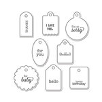 Sizzix - Doodlebug - Framelits Die and Clear Acrylic Stamp Set - Tags