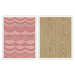 Sizzix - Tim Holtz - Alterations Collection - Texture Fades - Embossing Folders - Drapery and Woodgrain Set