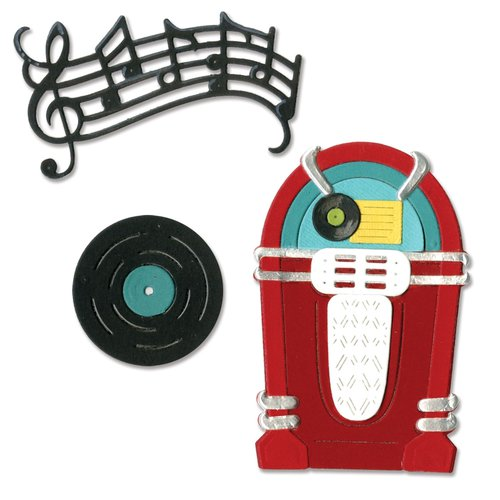 Sizzix - 1950s Collection - Thinlits Die - Juke Box and Music