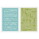 Sizzix - 1950s Collection - Textured Impressions - Embossing Folders - Retro Kitchen Set
