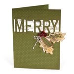 Sizzix - Winter Collection - Christmas - Thinlits Die - Card with Merry Cut-Out