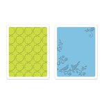 Sizzix - Favorite Things Collection - Textured Impressions - Embossing Folders - Songbirds and Lattice Set