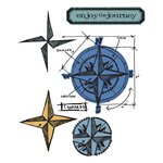 Sizzix - Tim Holtz - Alterations Collection - Framelits Dies and Repositionable Rubber Stamps - Compass Blueprint