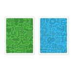 Sizzix - Textured Impressions - Embossing Folders - Arrows and Numbers Set