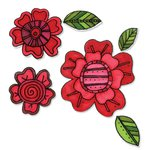 Sizzix - Homegrown and Handmade Collection - Framelits Die and Clear Acrylic Stamp Set - Flowers 5