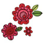 Sizzix - Homegrown and Handmade Collection - Framelits Die and Clear Acrylic Stamp Set - Flowers 6