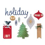 Sizzix - BasicGrey - 25th and Pine Collection - Christmas - Thinlits Die - Icons, Ornaments and Tags