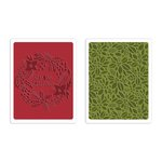 Sizzix - Tim Holtz - Alterations Collection - Christmas - Texture Fades - Embossing Folders - Greetings and Greens Set