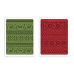 Sizzix - Tim Holtz - Alterations Collection - Christmas - Texture Fades - Embossing Folders - Holiday Knit Set