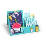 Sizzix - Framelits Die - Card, Happy Birthday Step-Ups