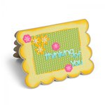 Sizzix - Framelits Die - Card, Scallop with Flowers and Sentiments Drop-ins