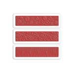 Sizzix - French General Collection - Textured Impressions- Embossing Folders - Buttons, Ruler and Vines Set