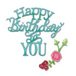 Sizzix - Hello Love Collection - Thinlits Die - Phrase, Happy Birthday to You