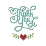 Sizzix - Hello Love Collection - Thinlits Die - Phrase, Thank You with Hearts
