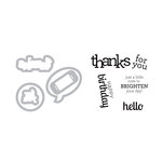 Sizzix - Doodlebug - Framelits Die with Clear Acrylic Stamp Set - Birthday, Hello and Thanks