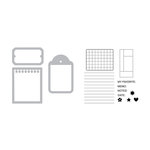 Sizzix - Doodlebug - Framelits Die with Clear Acrylic Stamp Set - Notebook Paper, Tag and Ticket