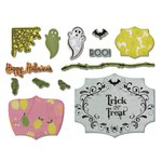 Sizzix - A Bright Harvest Collection - Framelits Die with Clear Acrylic Stamp Set - Happy Halloween