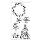 Sizzix - Winter Wishes Collection - Christmas - Interchangeable Clear Acrylic Stamps - Christmas Tree and Holiday Wreath