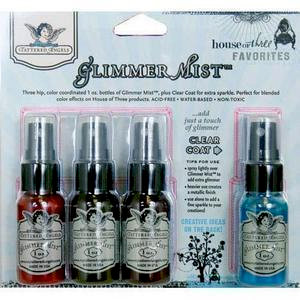 Tattered Angels - House of Three - Glimmer Mist Spray - 1 Ounce Bottles - Favorites - Set of Four