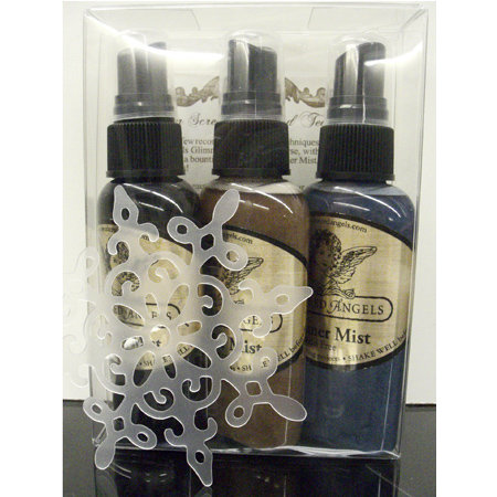 Tattered Angels - Frosty Memories Collection - Glimmer Mist and Stencil Kit