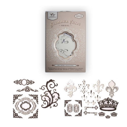 Tattered Angels - Embossed Glimmer Chips - Self Adhesive Chipboard Ornaments - Regal