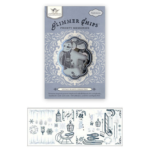Tattered Angels - Glimmer Chips - Ephemera Chipboard Pieces - Frosty Memories, CLEARANCE