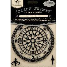 Tattered Angels - Screen Prints - Tattered Traveler Clear Acrylic Stamps - Compass
