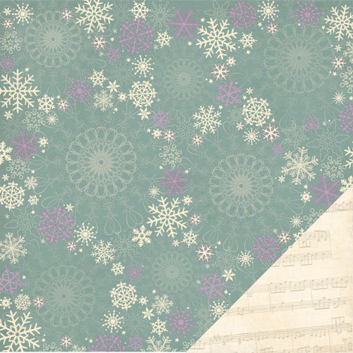 Three Bugs In a Rug - Deck the Halls Collection - Christmas - 12 x 12 Double Sided Paper - Snowfall