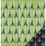 Three Bugs In a Rug - A Trip to Paris Collection - 12 x 12 Double Sided Paper - Eiffel Tower, CLEARANCE