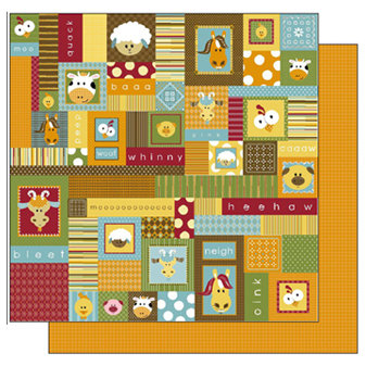 TaDa Creative Studios - E-I-E-I-O Collection - 12 x 12 Double Sided Paper - Country Qulit, BRAND NEW