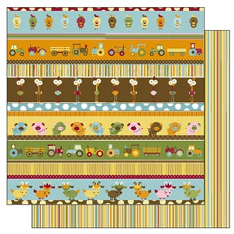 TaDa Creative Studios - E-I-E-I-O Collection - 12 x 12 Double Sided Paper - Barnyard Line Up, BRAND NEW