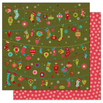 TaDa Creative Studios - Jolly Holly Days Collection - 12 x 12 Double Sided Paper - Hung with Care, CLEARANCE