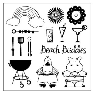 TaDa Creative Studios - Sizzlin' Summer Collection - Clear Acrylic Stamps