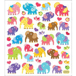 Sticker King - Clear Stickers with Foil Accents - Patterned Elephants