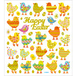 Sticker King - Clear Stickers with Glitter Accents - Happy Easter Chicks