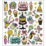 Sticker King - Clear Stickers with Glitter Accents - Birthday in Chocolate and Aqua