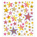Sticker King - Clear Stickers with Glitter Accents - Stars