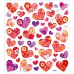 Sticker King - Clear Stickers wtih Glitter Accents - Hearts with Flower Pattern