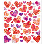 Sticker King - Clear Stickers - Hearts with Flower Pattern