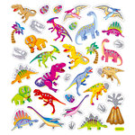 Sticker King - Clear Stickers with Glitter Accents - Dino Glitz