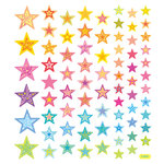 Sticker King - Clear Stickers - Colored Glitter Stars