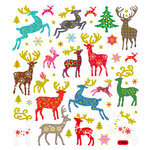Sticker King - Clear Stickers - Christmas - Glitter Patterned Reindeer