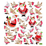 Sticker King - Clear Stickers - Christmas - Glitter Santa's Winter Birds