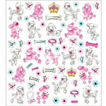 Sticker King - Clear Stickers - Poodles in Pink and White