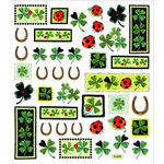 Sticker King - Cardstock Stickers with Foil Accents - Clovers with Horse Shoes