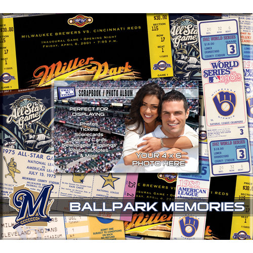 That's My Ticket - Major League Baseball Collection - 8 x 8 Postbound Scrapbook and Photo Album - Milwaukee Brewers