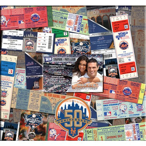 That's My Ticket - Major League Baseball Collection - 12 x 12 Postbound Scrapbook and Photo Album - New York Mets - 50th Anniversary