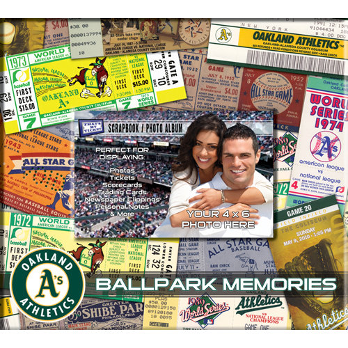That's My Ticket - Major League Baseball Collection - 8 x 8 Postbound Scrapbook and Photo Album - Oakland Athletics