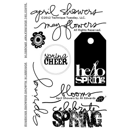 Technique Tuesday - Clear Acrylic Stamps - April Showers by Ali Edwards